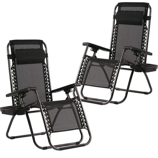 Zero Gravity Chairs Set of 2 Patio Adjustable Reclining Folding Chairs w Pillow