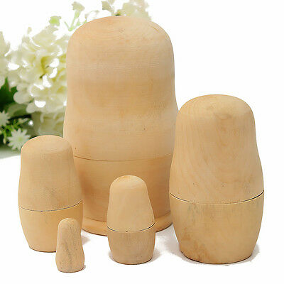 Set of 5 Matryoshka Dolls Unpainted Wooden Russian Babushka Nesting Toy Gift