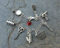 Hair Stylist Charm Bracelet- Sterling Silver Chain, Pewter Comb Scissors Charms