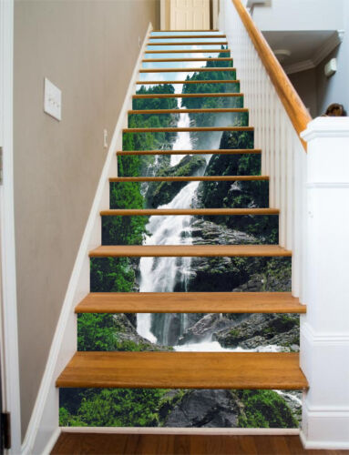 Details about  /3D Waterfall Tree 3 Stair Risers Decoration Photo Mural Vinyl Decal Wallpaper UK