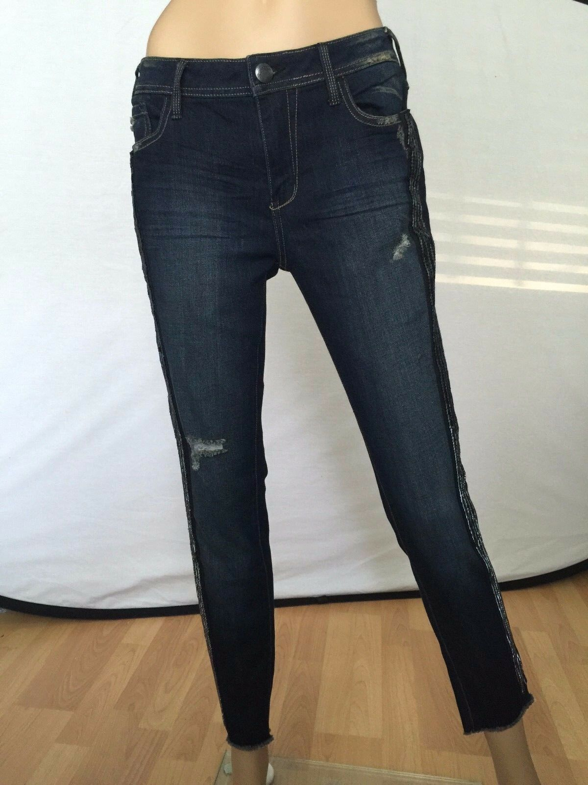 New Free People Denim bluee Skinny Pants Sequin Jeans Size 28