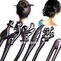 Women Wooden Hair Stick Pin Handmade Carved Wood Black Vintage Hair Accessories