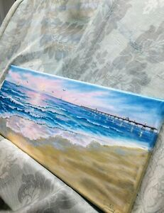 Art-SALE-ENDS-11-28-8-034-19-034-oil-painting-Florida-peir-sunset-Seascape-landscape