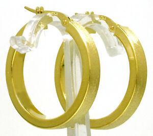 Edle-Damen-Gold-Creolen-Ohrr-nge-Eckig-585-Gelbgold-14-Kt-NEU-25-4-mm-Durchm