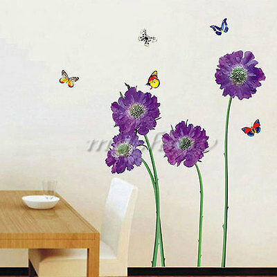 DIY Vinyl Quote Home Decor Art Purple Flower Wall Stickers Removable Decal Mural