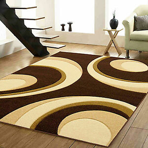 BROWN-BEIGE-CREAM-GEOMETRIC-ARC-SMALL-LARGE-CARVED-12MM-THICK-MODERN-QUALITY-RUG