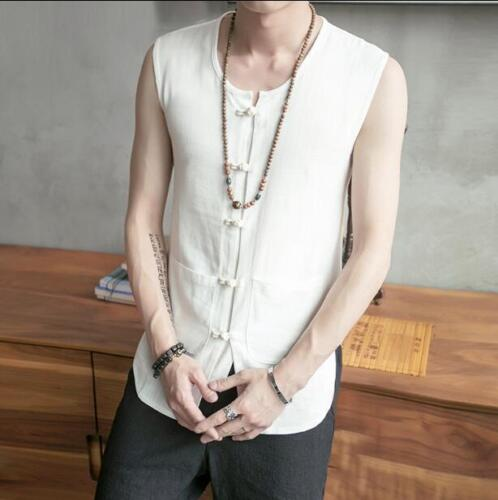 Chic Vintage Mens Top Cardigan Vest Chinese Cotton Linen Sleeveless Shirt Casual