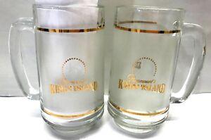 LOT-Paramount-Kings-Island-Gold-GLASS-BEER-MUGS-Bar-Drink-Glasses-Ohio-Souvenir
