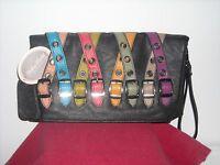 Mellow World Black With Multi Color Straps/buckles Leatherette Purse/clutch