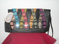 Mellow World Black With Multi Color Straps/buckles Leatherette Purse/clutch