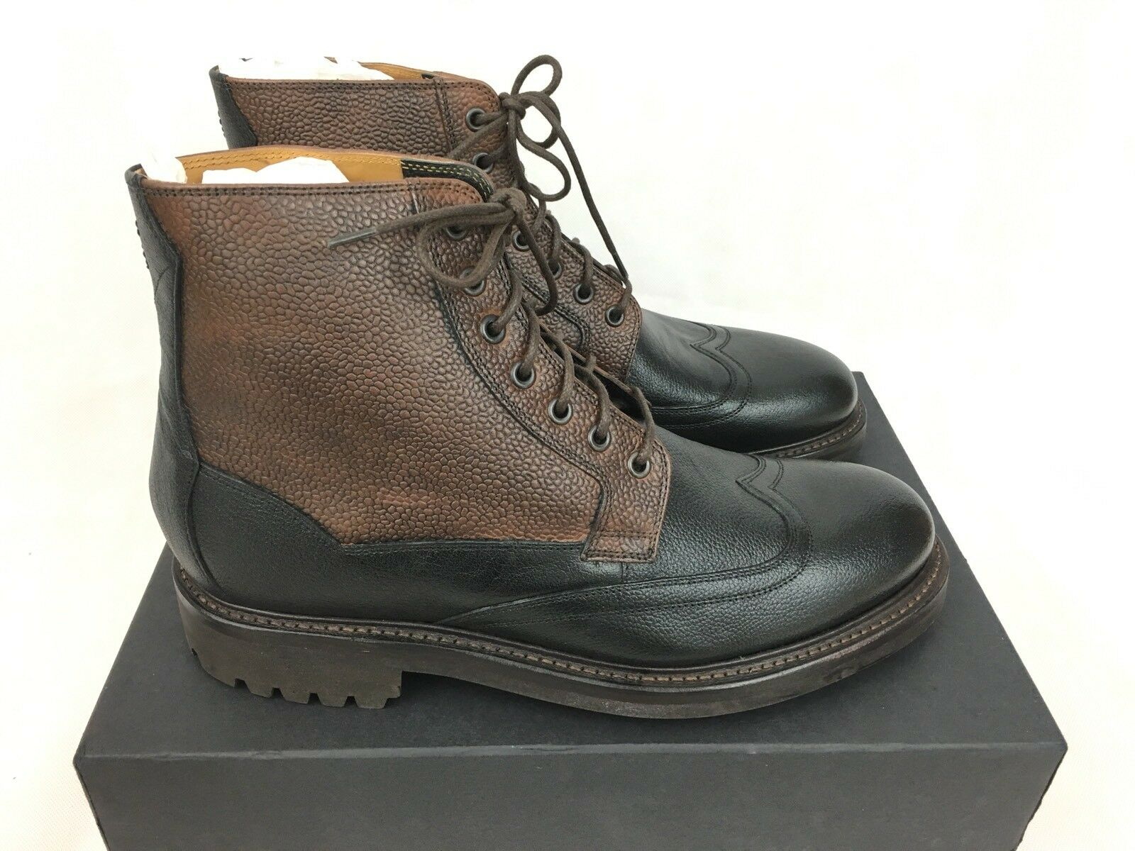 Oliver Sweeney Danby botas al Tobillo de Cuero-Negro Marrón-UK12 US13 EU46 PVP