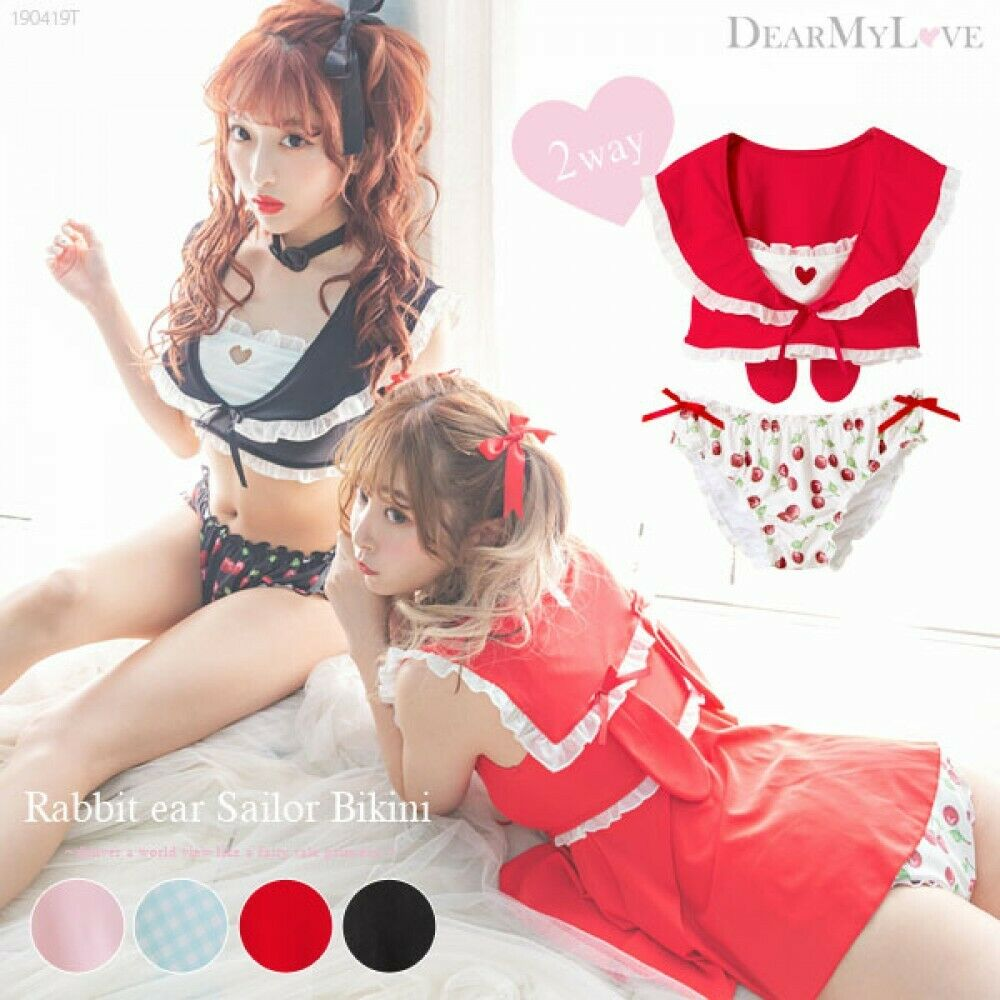 YUMETENBO 2way Rabbit Ear Sailor Bikini badkläder
