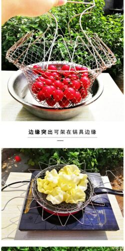 Multi-Function Folding Rinse Stainless Steel Frying Basket Cook Kitchen Colander