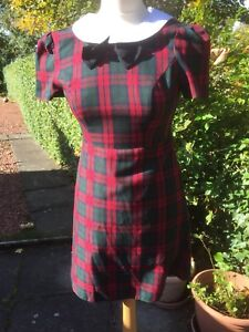 86b37b932 Cute Primark Check Dress Size UK 8 Tartan Vintage White Collar ...