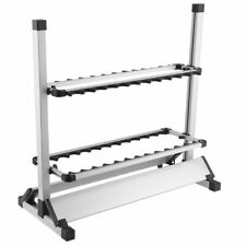 Fishing Rod Rack Stand 24 Slots Alloy Metallic Silver with Black rack Foldable