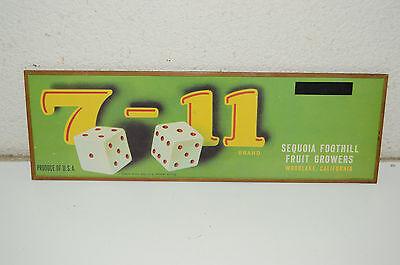 Look! 7-11 Dice Grape Crate Label Mint Label