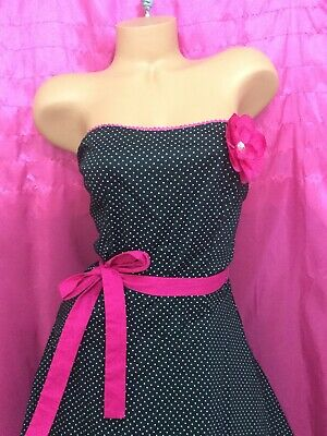 Details about  /vintage RUBY ROX Sun dress black pink white dot rockabilly 7 strapless EUC bow