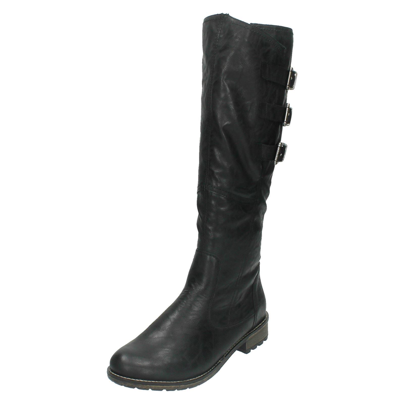 Señoras remonte r3370 Negro sintéticas cálido Forrado largo botas vaviable Pierna