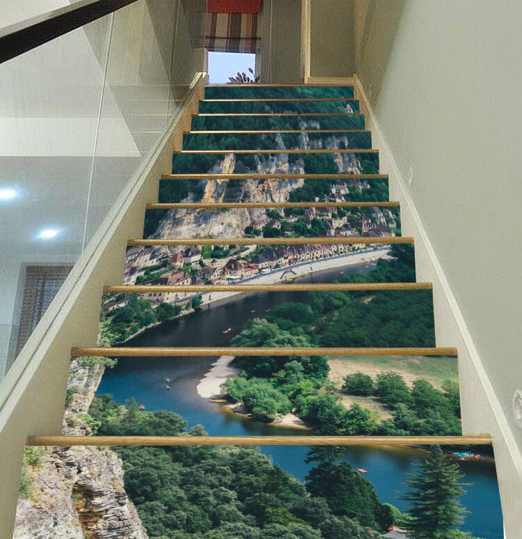 3D Town River 1664 Risers Decoration Photo Mural Vinyl Decal Wallpaper CA