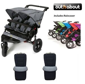 Steel Grey Out n About V4 Double Stroller Plus Free Tyre Pump