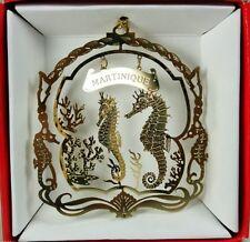 Martinique Caribbean Island Brass Christmas Ornament Souvenir Gift Sea Horses