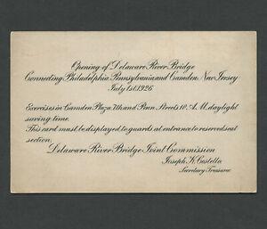 Camden NJ Philadelphia PA: Scarce 1926 Ticket OPENING OF DELAWARE RIVER BRIDGE