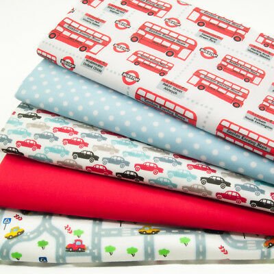 Fat Quarter Fabric Bundle CAR BUS VEHICLE Boy Kids Craft Polycotton Material