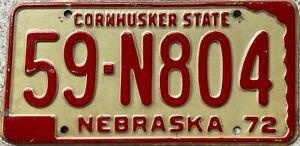 1972-Nebraska-Cornhusker-State-American-License-Licence-Number-Plate-Tag-59-N804