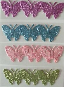 12 Butterfly Embellishments for card making and crafts purple//blue//pink//green