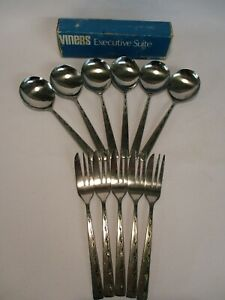 Viners-Executive-Suite-Spoons-and-Forks-Vintage-Set-of-6-and-5-15cm-long