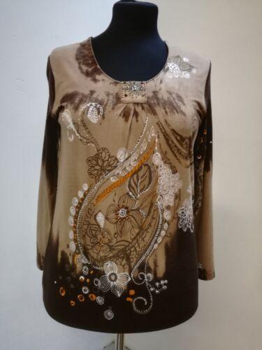 Zierriegel Shirt Borgelt Studio damen Rundausschnitt Schmuck steinchen wxqC10F