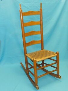 Image Is Loading VINTAGE LADDER BACK WOVEN SEAT ROCKER ROCKING CHAIR