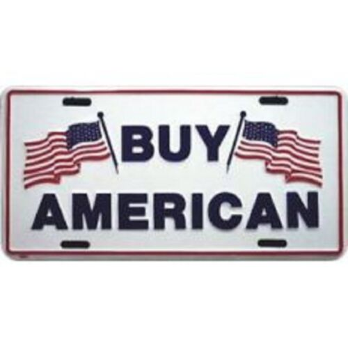 "Buy American Advertising 6/""x12/"" Aluminum License Plate Tag"