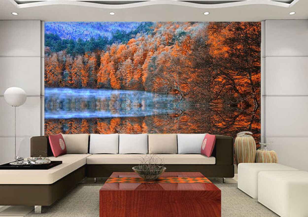 3D Maple Leaf Forest Wall Paper wall Print Decal Wall Deco Indoor wall Mural