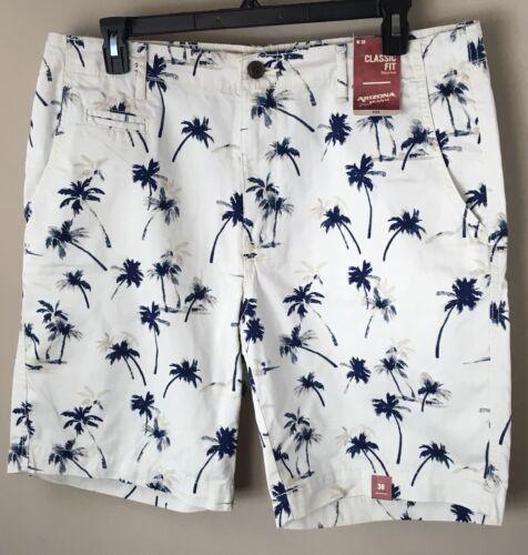 38 ARIZONA Jeans Co Classic Fit Vacation Shorts Hawaiian Palm Tree Navy Blue NWT
