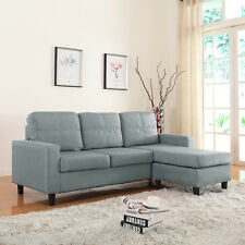 Modern Linen Fabric Light Grey Sectional Sofa Small Space Configurable Couch