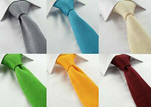 De-Luxe-Fait-a-la-main-Plain-en-mailles-coton-cravate-Skinny-Slim-rouge-vert-mousse-orange-bleu