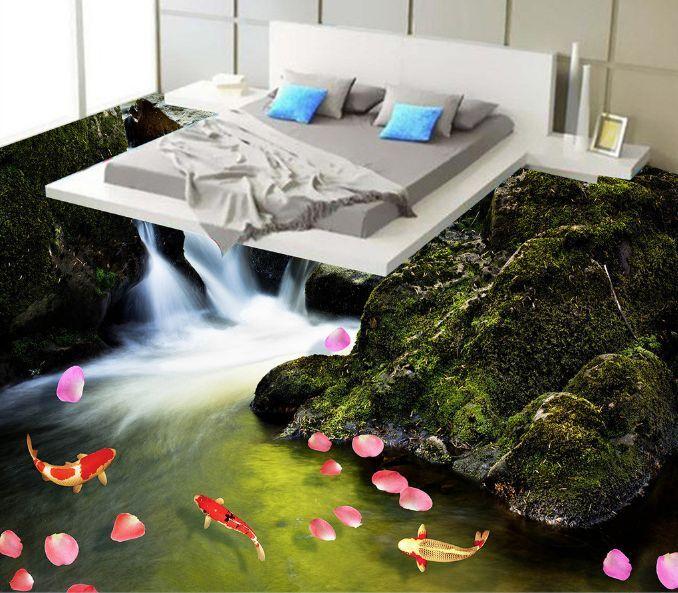 3D Ravine River Petals Floor Wallpaper Murals Wall Print Decal 5D AJ WALLAPER