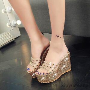 Womens-Transparent-Shoes-Open-Toe-High-Platform-Wedge-Heel-Sandals-Slippers-Size