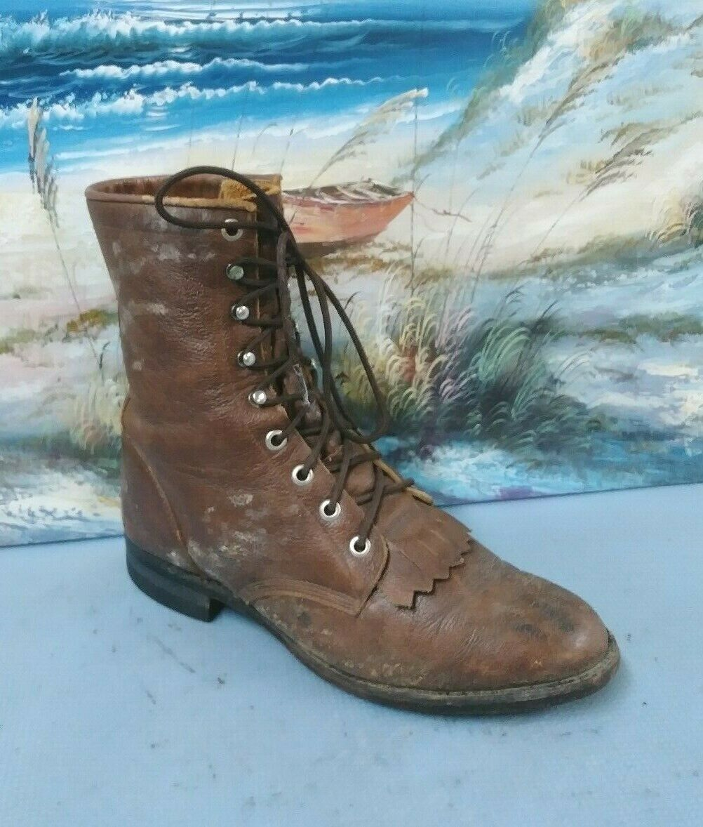 Justin Para Hombre  De Cuero Marrón Con Cordones Tassle botas talla 6 EE 508  alto descuento