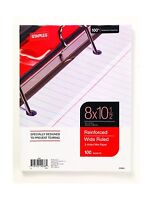 Staples Reinforced Filler Paper Wide Ruled 8 X 10 1/2 Free Shipping