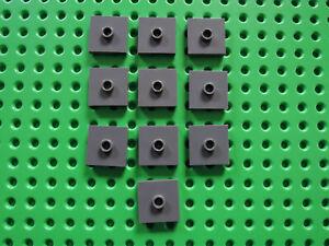 Lego 10 x Fliese Konverter 87580 neu dunkelgrau  2x2 Noppe oben mittig