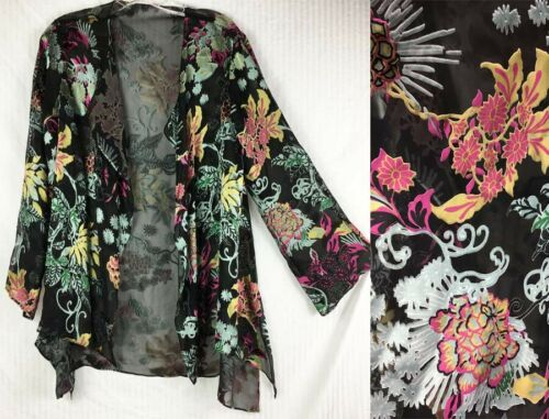 Harari Cut Silk Sheer Jacket Floral Open Style O/S