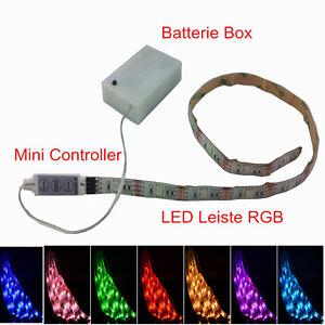LED-Lichtleist<wbr/>e RGB f Küche Schrank innen Leuchte Unterbau Streifen Batterie BOX