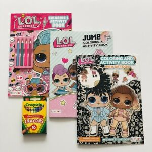 New-3-LOL-Surprise-Jumbo-Coloring-Activity-Books-With-Tatoos-Crayons