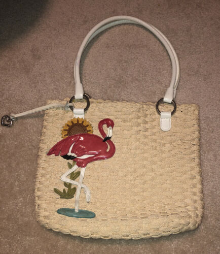 Brighton Flamingo straw handbag purse
