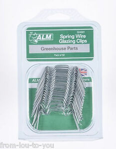 GREENHOUSE SPRING WIRE GLAZING CLIPS PACK OF 50