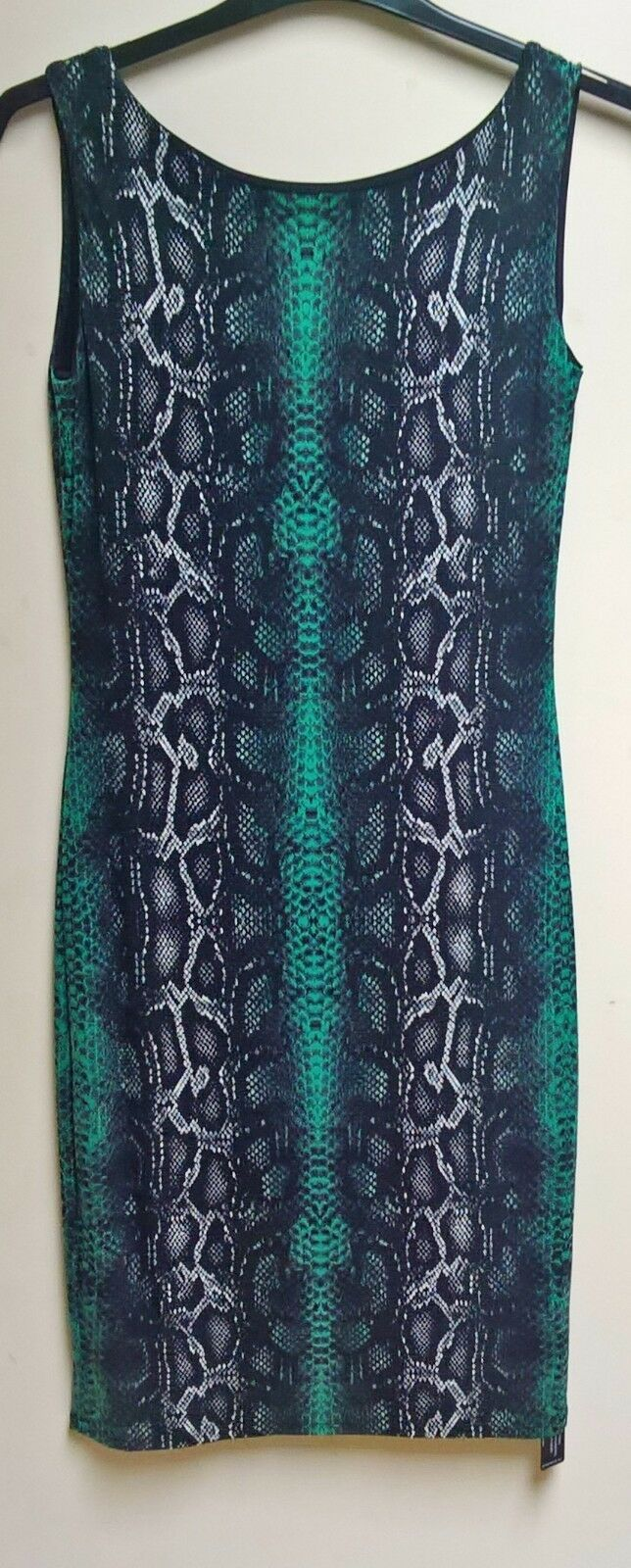 "M&S ""TWIGGY"" Quality Stretch Soft Jersey Green Python Print Dress Size 12 NEW"