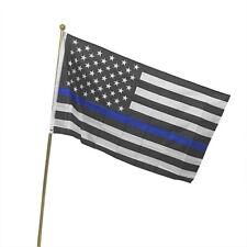Polyester b 3x5 Ft THIN BLUE LINE USA Flag with POLE POCKET SLEEVE