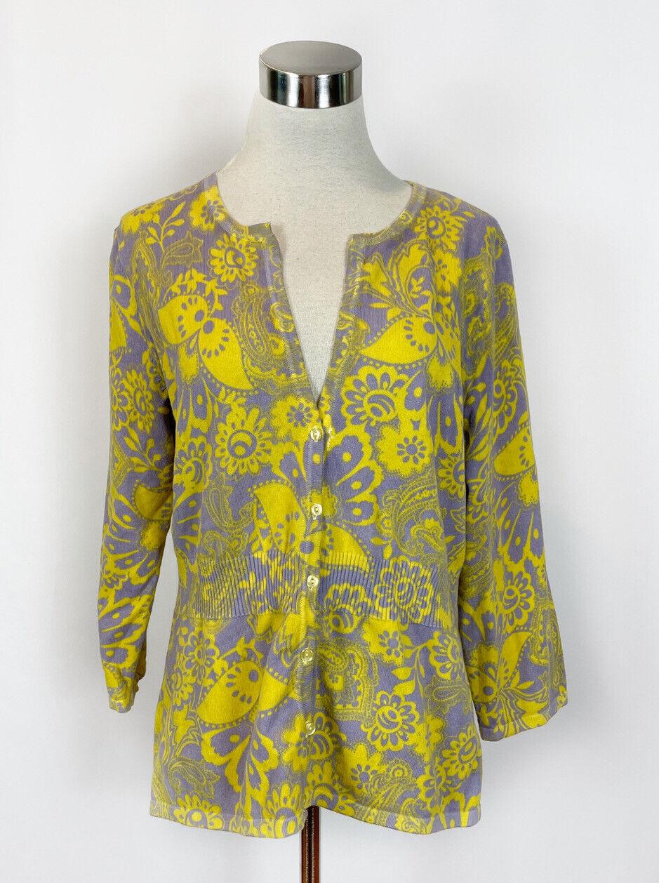 Saint Tropez West Lilac Yellow Floral Cardigan Sw… - image 1